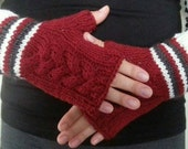 Handknit cabled mittens with stripes