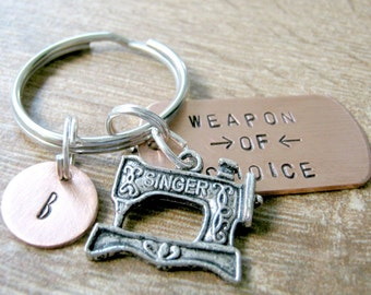 SEWING MACHINE Keychain, best seller, Seamstress gift, Weapon of Choice, optional personalized initial disc, gifts under 20