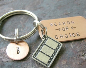 FILMSTRIP Weapon of Choice Keychain, filmmaker gift, movie lover gift, producer gift, optional personalized initial disc available, see pics