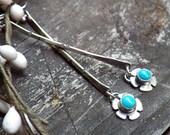 Sleeping Beauty Turquoise Sterling Silver Bar Dangle Earrings
