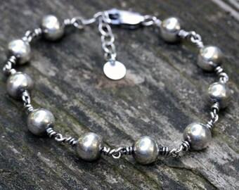Sterling silver bracelet / sterling silver beaded bracelet / gift for her / layering bracelet / adjustable bracelet / jewelry sale /