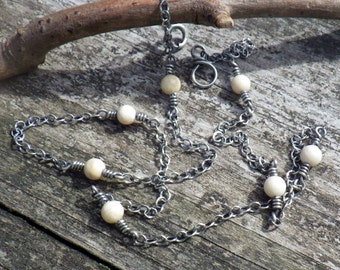 Natural river stone sterling silver layering necklace