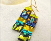 Yellow butterfly earrings, dichroic glass mod earrings, striped earrings, bold statement jewelry, handcrafted and unique, hip and stylish