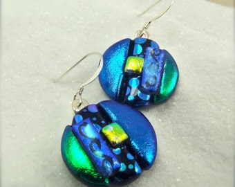 Dichroic glass earrings, Round earrings, Dichroic Earrings, dichroic glass, fused glass earrings, short earrings, birthday gift, handmade