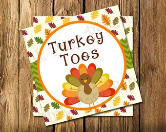 Printable Thanksgiving Turkey Toes Tags - Instant Download
