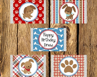Printable Puppy Dog Personalized Birthday Mini Candy Bar Wrappers