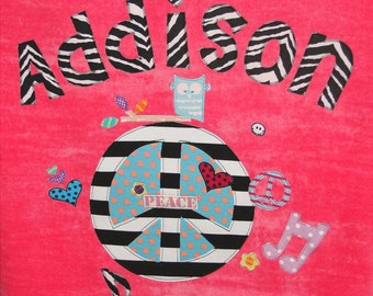 Personalized Large Pink Velour Beach Towel with Peace Sign, Pool Towel, Kids Bath Towel, Camp Towel, Bridal Party Gift, Baby Gift