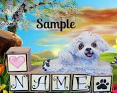 Maltese dog PERSONALIZED with your dog's name on blocks by Sally's Bits of Clay