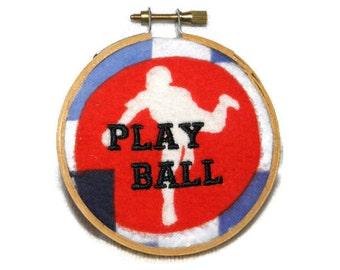 "Play Ball Wall Hanging Embroidery Hoop 3.5"" Baseball Player - Ready to Ship"