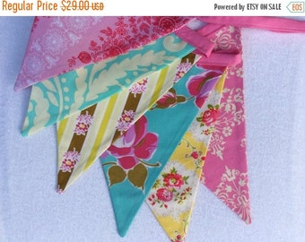 STOREWIDE SALE Fabric Flag Bunting Banner Designer's Choice Featuring Yellows, Pinks, and Blues.  Also For Weddings and Parties. Photo Prop,