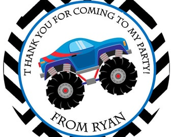 Monster Truck Personalized Stickers, Birthday Stickers, Address Labels, Party Favor, Hang Tags, Speedster - Set of 12