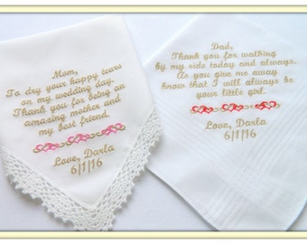PERSONALIZED Set of Two Embroidered Wedding Hankies HEARTS and SCROLLS