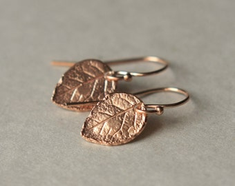 SALE Rose Gold Leaf Earrings, Rose Gold Jewelry, Minimal Jewelry, Jewelry Gift, Nature Jewelry, Small Rose Gold Dangle Earrings