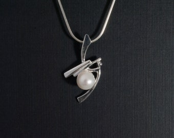 Sterling Silver and White Pearl Pendant