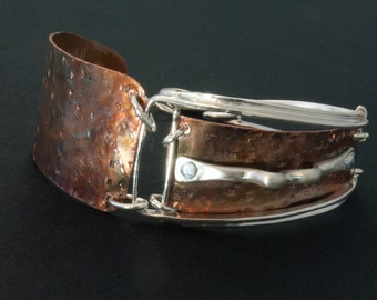 Sterling Silver and Copper Bracelet with riveted silver accent