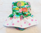Female Dog Diaper Skirt  Perfect for your dog in Season and House Training Colorful Skulls and Dots
