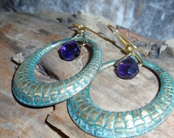 Amethyst Crystal And Hoop Earrings-UPGRADE To Gold Filled