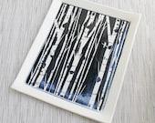 Handmade Ceramic Tray with Black and White Birch Trees