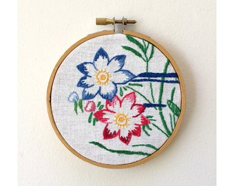 Vintage Framed Embroidery - Embroidery Flowers