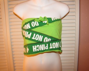 Clearance items 70% off - Do Not Pinch cut couture St Patricks Day convertible tube top drawstring micro mini skirt size XS