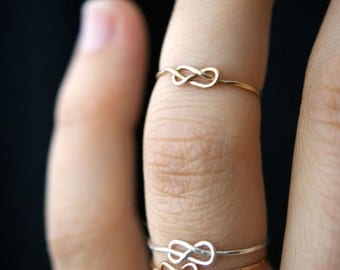 Tiny Infinity Knot ring in 14K Gold fill, Gold knot ring, gold infinity ring, gold stacking ring, knot ring, infinity ring