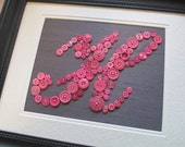 Nursery Wall Art, Button Letter H on Silk, Personalized Kids Wall Art, Button Art, Toddler Gift, Girl Gift, Wall Canvas or Ready-To-Frame