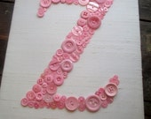 Personalized Kids Wall Art, Button Letter Z on Silk, Button Art, Nursery Wall Art, Baby Girl Gift, Teen Girl Gift, Canvas or Ready-To-Frame