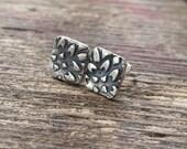 Small chrysanthamum stud earrings.  Eco friendly sterling silver, handmade earrings.