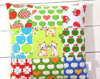 "Handmade patchwork Scandi fabric cushion cover by Jane Foster 70s juvenile Graziela fabric 15"""