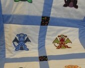 mjh030103's Custom Order Dragon Baby Quilt -Medieval nursery bedding - with red sashing - Embroidery Applique - baby boy-