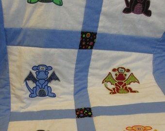 Dragon Baby Quilt -Medieval nursery bedding - baby shower gift - Embroidery Applique - blue - baby boy- babies - toddler - childrens blanket
