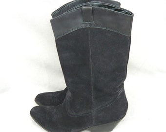 vintage URBAN COWGIRL Western Ankle Boots  size 8 Eu 38 .5 Uk 5 .5 REBA Black Suede Leather Mid Calf