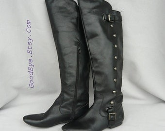 Vintage STUDS n Leather Over Knee Pirate Boots  / size 7 B Eu 37 .5 UK 4 .5 / Black Bohemian Flat Riding OTK Military
