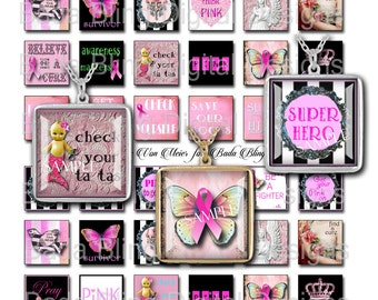 inchies, Breast Cancer Awareness,   INSTANT Digital Download at Checkout, collage sheets for jewelry, breast cancer pendants, pink ribbons