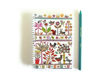 Spring Nature Small Notebook A6, Back to School, Pocket Travel Spiral Bound Journal, Blank Sketchbook, Flora and Fauna, Forest Theme, Cute