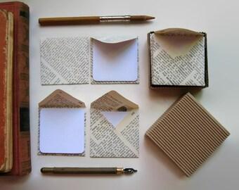 Spanish Encyclopedia, Mini Stationery Set, Vintage Encyclopedia, Small Envelopes, Blank Note Cards, Square Envelopes, Encyclopedia Paper