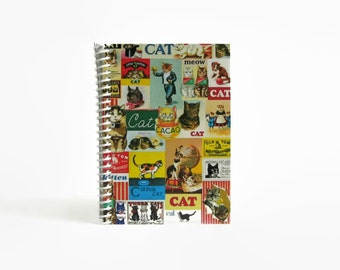 Cute Cats Spiral Notebook, Back to School, Blank Sketchbook, Writing Journal, Pocket, A6, 4x6 Inches, Cat Lover Gift, Pretty, Gifts Under 15