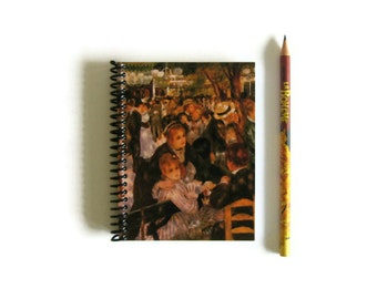 Dance at Le Moulin de la Galette Spiral Bound Writing Journal, Small Notebook, Diary, Pocket, Travel, Impressionist Art, School, Sketchbook