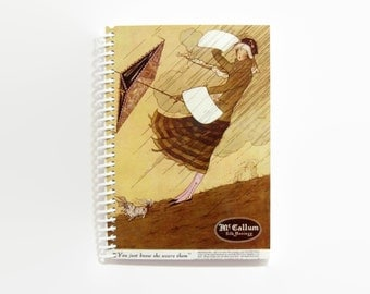 Wind and Rain Spiral Bound Pocket Writing Journal, Travel Diary, Blank Sketchbook, A6 Back to School Notebook, Cute Notebook, Gifts Under 15