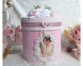 BOX Pink/White Shabby Chic Decorated Lace Roses Victorian Lady svfteam ECS sct schteam