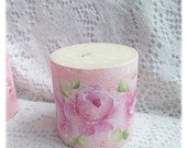 """3"""" PILLAR PInk Candle Shabby Chic Handpainted PINK Roses ECS sct schteam SVFTeam"""