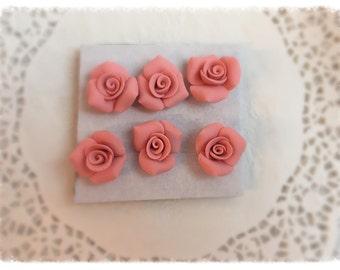 PUSHPIN Coral Peach Handmade Clay Roses Set of 6 Thumbtacks SVFteam ECS sct schteam