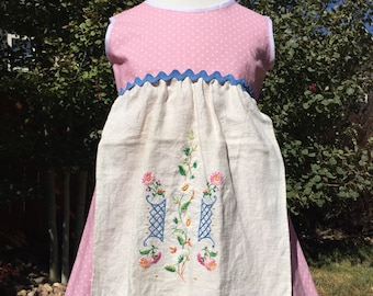 Pink and blue apron dress