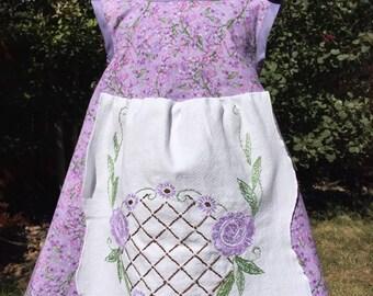 Purple cross-back apron dress