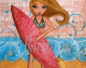 Surf Art, Surf Decor, Beach Decor, Surfer Girl, Beach Wall Art, Print Sizes 5x7 or 8x10by HRushton