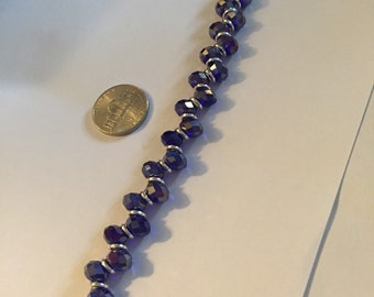 Deep blue Swarovski crystal bracelet 8mm