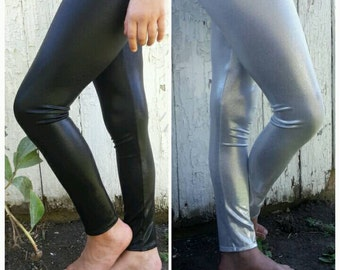 Shiny Metallic Silver or Black Leggings for Girls Size 2t-10, Liquid Leggings