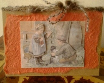 Children Playing, Birthday Greetings Card - Vintage Dutch Image - Kittens