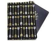 Metallic Gold Arrowns on Black Passport Cover/Holder/Wallet