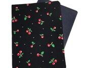 Passport Cover - Small Cherries on Black